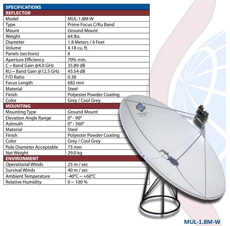 Mul 1 8m W 1 8 Meter Prime Focus C Band Satellite Dish