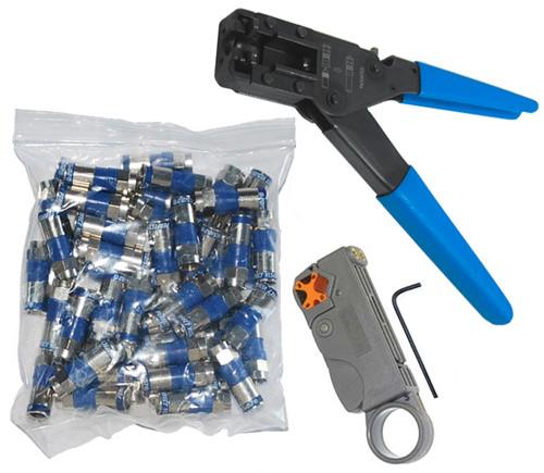 Ratcheting Rg6 Connector Installer Kit