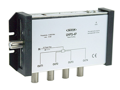 NAS, 4-Way Ultra Wide Band Splitter 2-3550 MHZ MFH1 UHFS-4P