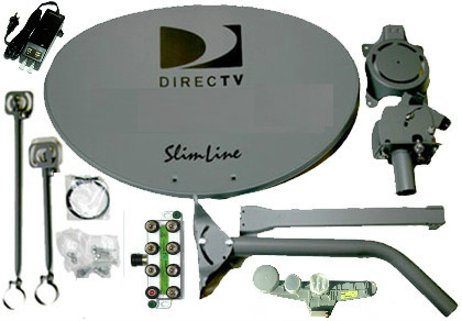Directv SWM SL5S Slimline Dish Kit LNB Power Splitter and Dish