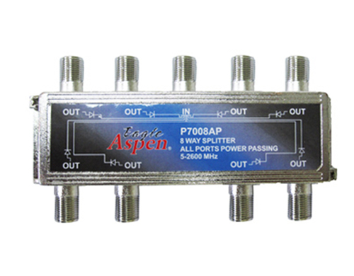 8-Way Splitter All Ports Power 5-2600 MHz HF Eagle Aspen P7008AP