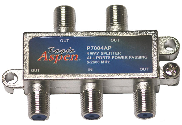 4-Way Splitter All Ports Power Passing 5-2600 by Eagle Aspen P7004AP
