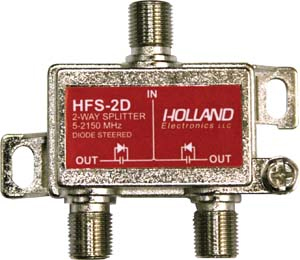 Holland 2-Way Splitter All Ports Power 15-2150 MHz W-Diode HFS-2D