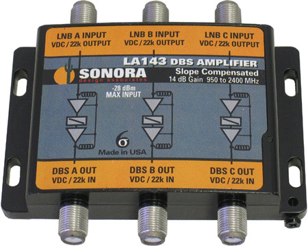 Sonora DBS Triple Line Amp 14dB gain 250 to 2400MHz LA143