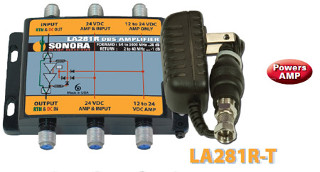 Sonora 28 dB Gain Amp 54 to 2400 MHz 2-40 MHz Return LA281R-T