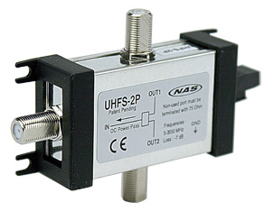 NAS, 2-Way Ultra Wide Band Splitter 2-3550 MHz MFH UHFS-2P