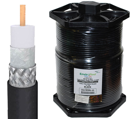 RG6 Dual-Shield Solid Copper Cable Directv EnviroReel Black CR01BSR0-05