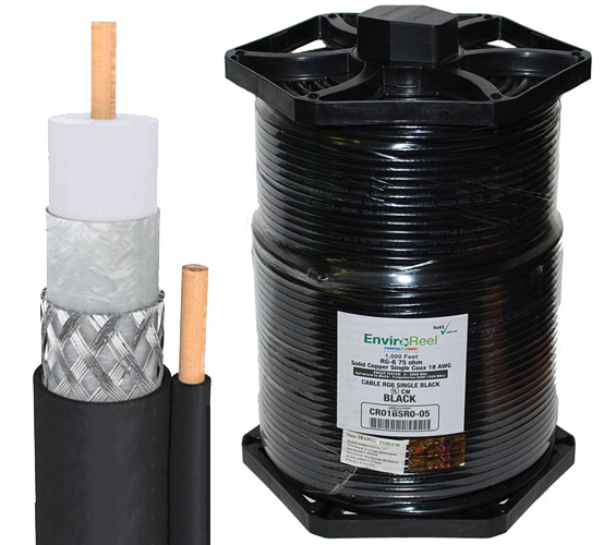RG6 Dual-Shield Solid Copper With Ground Cable Directv EnviroReel