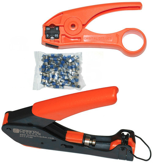 RG6 Cable Stripping and Compression Tool Kit with 25 Connectors