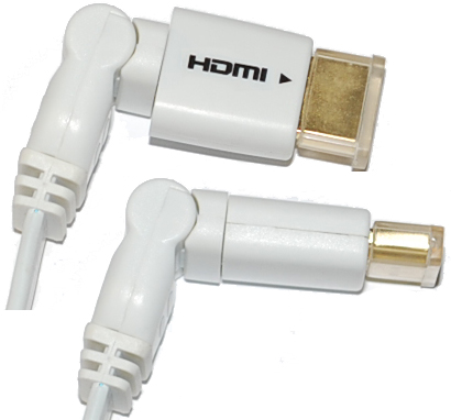HDMI 1.4 Flat Cable 3D Ethernet Braided 1 end swivel 6' -10'