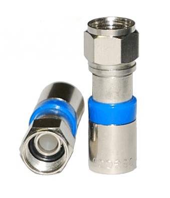 SatPro SP6 RG6 Compression Connector F-Type Coaxial 25 Bag