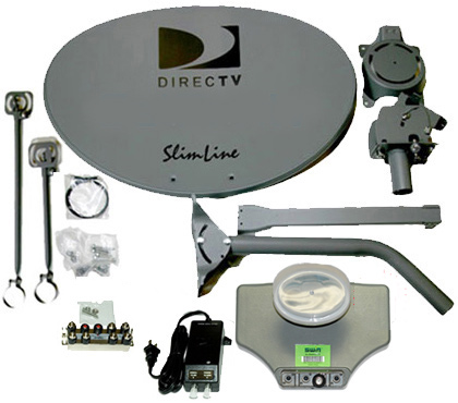 Directv SWM SL3S Slimline Dish Kit LNB Power Splitter and Dish