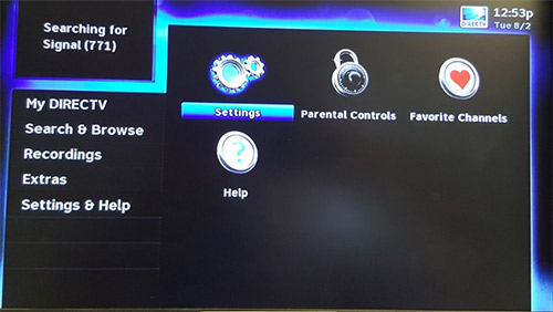 Directv menue settings