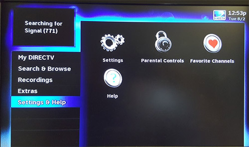 Directv menue settings and help